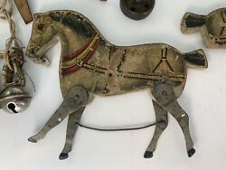 Antique Toy Horses Circus Early 1900s Wooden Litho Parts Vintage Pull Toy Rare