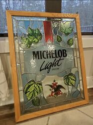 Vintage Michelob Light Stained Glass Look Beer Sign