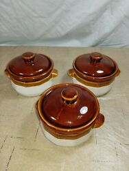 Three Vintage 1970s Brown Cream Stoneware Soup Bowls With Lids Approx 4 1/2 In