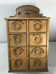 Antique Wood 8 Drawer Spice Apothecary Wall Cabinet Box Primitive Vintage