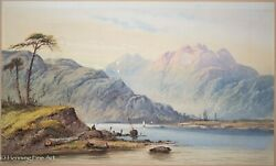 Beautiful 19th Cent Antique English Watercolor Mountain Landscape Painting 1/2