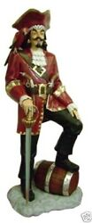 Pirate Captain With Barrel Statue Life Size 6ft - Pirate Statue - Captain Statue