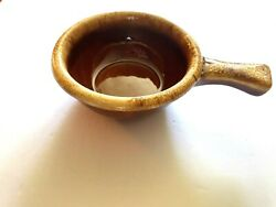 Vintage Hull Usa Brown Drip Soup Chili Casserole Bowl W/ Handle Oven Proof