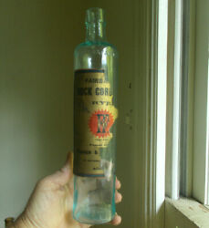 Fisher And Fairbanks Boston Emb With Label Rock Cordial Rye Whiskey 1870s Bottle