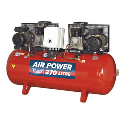 Sealey Compressor 270l Belt Drive 2 X 3hp With Cast Cylinders