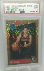 2018 Optic Trae Young Gold Prizm Fast Break /10 Rookie Psa 9