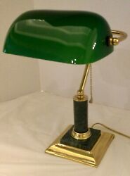Brass Bankers /lawyers/student Desk Lamp Green Shade W/marble Stem And Brass Base