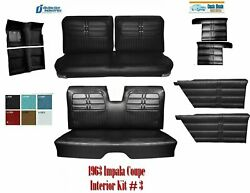 1963 Impala H/t Coupe Interior Kit 3 With Upholstery Front/rear Panels Carpet