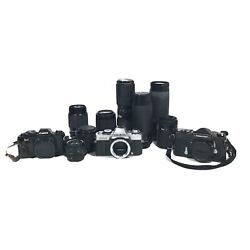 Canon Minolta Nikkormat 35mm Film Cameras Lot With Lenses For Parts Untested