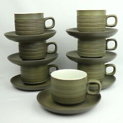Denby Stoneware - Discontinued Camelot Dark Green - Chevron - 7 Cups And Saucers