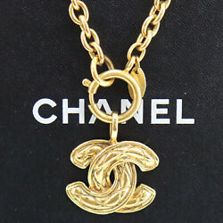 Cc Logos Chain Used Necklace Gold-tone France Vintage Authentic Ae291 O