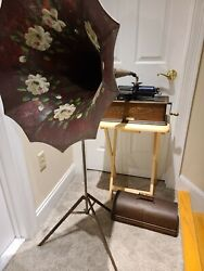 Antique Working 1903 Edison Home Oak Wind-up 2 And 4 Min. Cylinder Phonograph