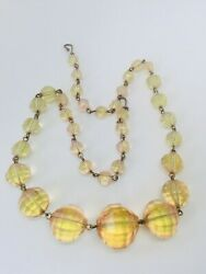 Vintage Uranium Faceted Glass Beads Necklace