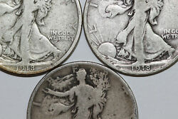 A Group Of 3 1918 P-d-s Fine Liberty Walking 90 Silver Half Dollars Num3703
