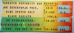 Black Sabbath And Blue Oyster Cult Rare Concert Ticket Live In Rochester 1980 Tour