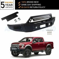 Front Steel Black Bumper For 2009-2014 Ford F 150 + Winch + Bright Light