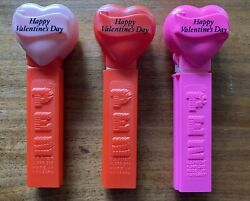 Lot Of 3 Pez Dispensers Happy Valentine's Day Red + Light And Dark Pink No Feet