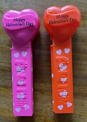 Two Vintage Pez Dispensers No Feet Happy Valentine's Day - Red And Bright Pink