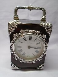 Antique Siver And Tortoiseshell Carriage Clock London 1890 Wright And Davies In Gwo
