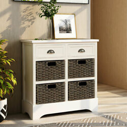 Entryway Storage Cabinet W/2 Drawer 4 Fabric Basket Hallway Accent Console Table