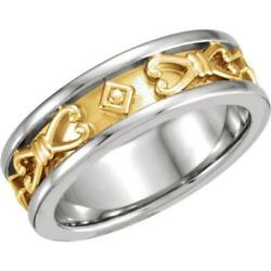 14k Two-tone Gold Grooved Etruscan Style Wedding Band