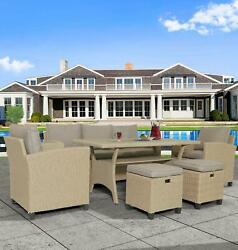 6 Pcs 7 Seats Outdoor Rattan Wicker Dining Furniture Chairandtableandstools W/ Table