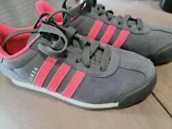 Adidas Womens Samoa G47609 Gray Pink Running Shoes Lace Up Low Top Size 6.5