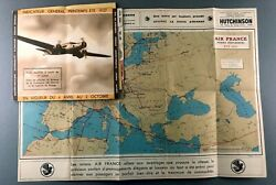 Air France Airline Timetable Summer 1937 Route Map Aircraft Pics Large Route Map