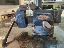 Vintage Craftsman Bench Vise. Made In Usa. 4 Inch Jaws.