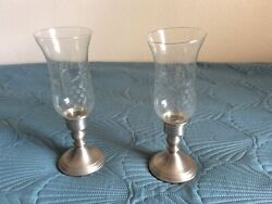 Web Pewter Weighted Hurricane Lamps Glass Globes Etched Pattern