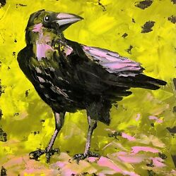 Crow Painting Black Raven Bird Original Art 10 By 10 Oil Painting By Tetiana