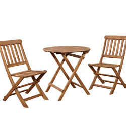3 Piece Wooden Cafe Set With Foldable Chairs And Table Brown