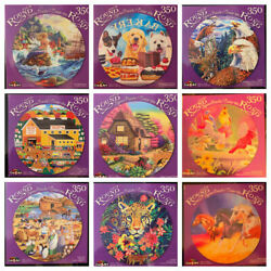Cra-z-art Round 350 Pc Jigsaw Puzzless Horses/dogs/scenery/wild Life Lot Of 39