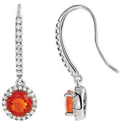14k White Gold Mexican Fire Opal And Diamond Halo Earrings