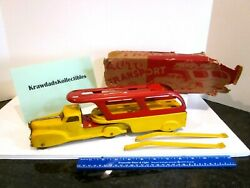 Vtg Marx Pressed Steel Toy Truck 1940's Auto Transport Yellow And Red 14 Inches