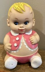 Vintage Pink Rubber/vinyl Baby Squeeky Toy Plumpees 1968 Uneeda Doll Co.