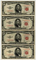 4 1953 5.00 Red Seal United States Legal Tender Star Notes Nice Xf Condition