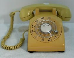 Bell System Yellow Rotary Dial Desk Phone Western Electric 500dm Vintage 1970's
