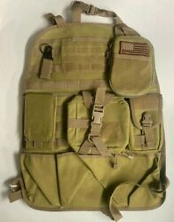 Tactical Molle Car Seat Back Organizer Vehicle 8 Pc Set Universal Fit W/ Pouches