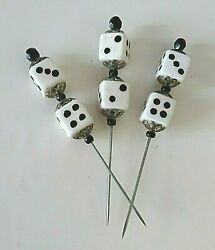 Rare Antique Black And White Glass And Enamel Dice Hat Or Stick Pin