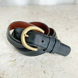 Coach Black Leather Belt Womens Size M Brass Buckle Glove Tanned Cowhide Soft