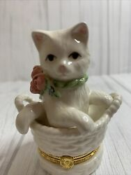 Trinket Box Figurine Porcelain Cat in a basket with baby inside
