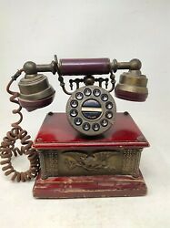 Vintage Old Redial Flash Rotary Dial Landline Telephone With Brass Engraved Work