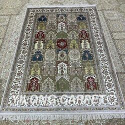 Yilong 4and039x6and039 Handknotted Silk Carpet Four Seasons Kid Friendly Area Rug H286b
