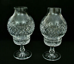 Pair Of Rogaska Gallia 12 1/4 Tall 2 Pc. Hurricane Lamps Star Base - Excellent