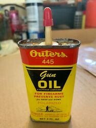 Vintage Outers 445 Gun Oil 3 Ounce Full Unopened Tin Can, Not Motor Oil