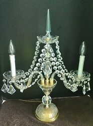 Vintage Antique Crystal 2 Arm Candelabra W/ Prisms And Swags Electric Table Lamp
