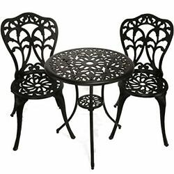 Innfinest 3-piece Patio Bistro Dining Set - Cast Aluminum Table And Chairs - ...