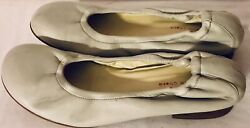 """O Lautre Chose Womens Sz 39 8 Off White Leather Ballet 1"""" Block Heel Shoes Italy"""