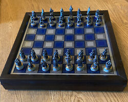 1983 Franklin Mint Pewter/brass Civil War Chess Set -certificate Of Authenticity